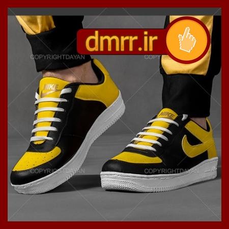 کفش مردانه فشن مشکی و زرد دور دوزی شده