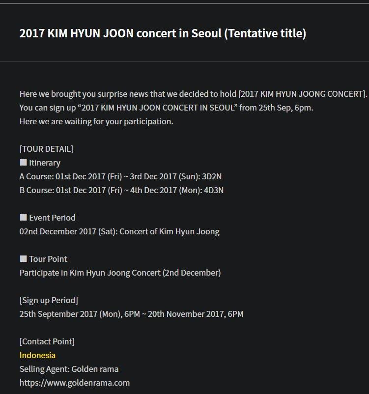 2017 KIM HYUN JOONG concert in Seoul (Tentative title) 2017.09.25
