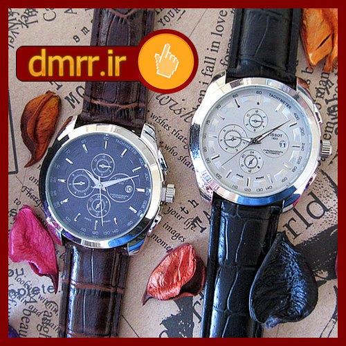 فروش ساعت مچی مردانه تیسوت رنگ صفحه سفید و مشکی