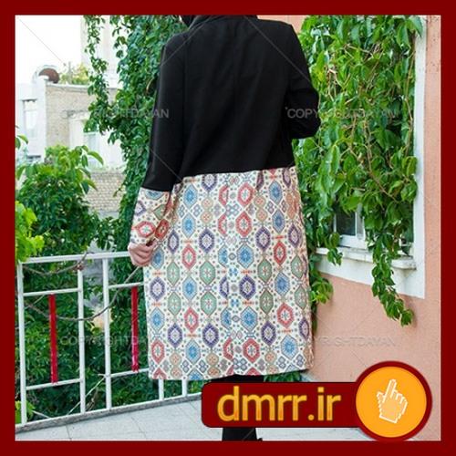 خرید اینترنتی مانتو سنتی مشکی بندی زنانه 1396