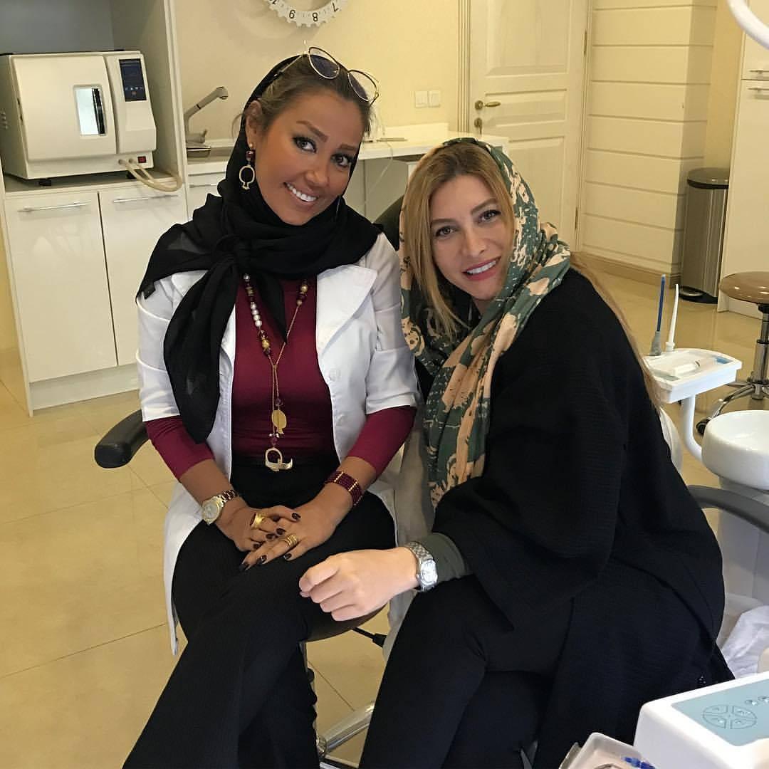 فریبا نادری با دکتر دندانپزشکش