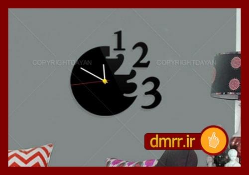ساعت دیواری اعداد جدا دایره ای مشکی