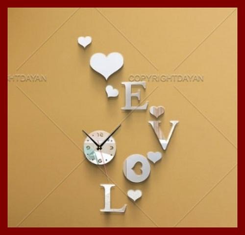 خرید ساعت دیواری آینه ای دکوراتیو مدل قلب عشق love