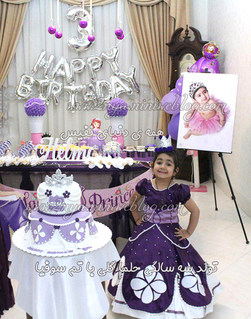 3sale_happy_birthday_helma_sofia-sofya-soofiya تولد سه سالگی حلما - کیک تولد لباس سوفیا -گلی با تم سوفیا - تم بنفش زیباترین مدل ایرانی جدیدترین تم تولد لاکچری اکسسوری جشن تولد دخترانه