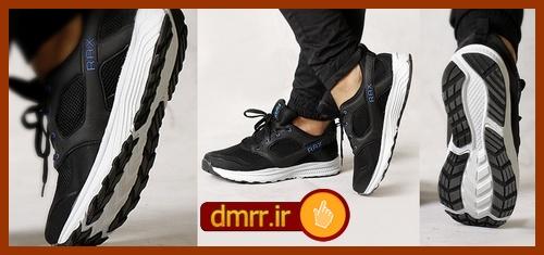 کفش مردانه زیره سفید ایویا جنس رویه ترکیبی مشکی Rax