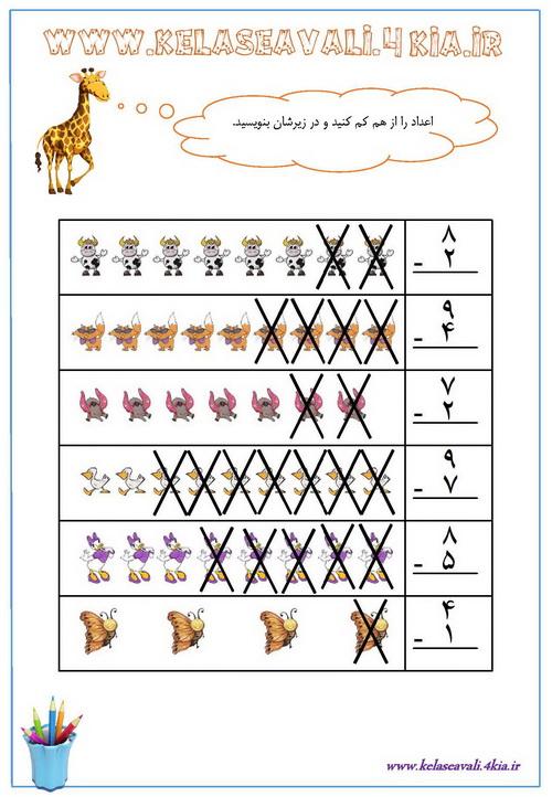 سوالات ریاضی پایه اول دبستان