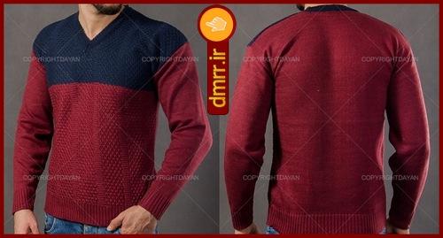 پیراهن بافت مردانه یقه هفت رنگ جگری سرمه ای