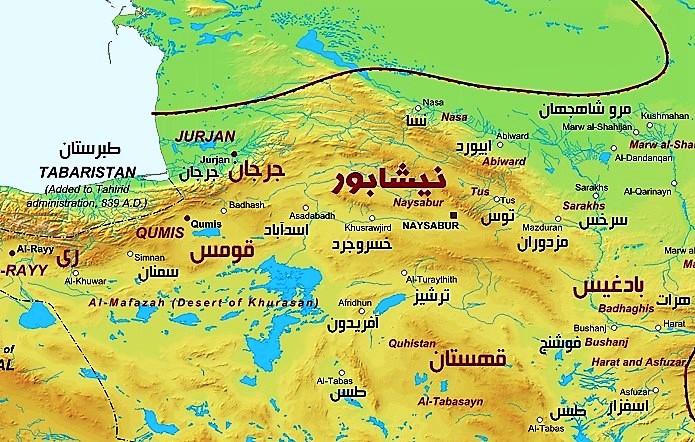 نقشه خراسان غربی و همسایگان آن در سدههای نخستین هجری