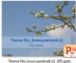 قالب پاورپوینت شکوفه درخت زمینه آسمان آبی
