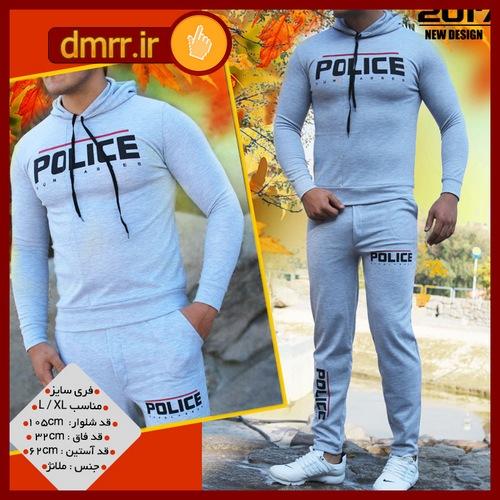 سویشرت و شلوار مردانه مدل police رنگ طوسی