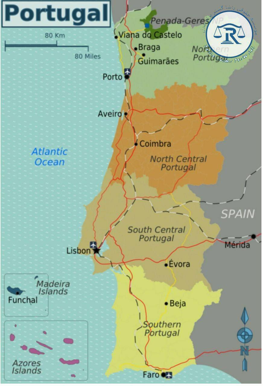 نقشه کشور پرتغال