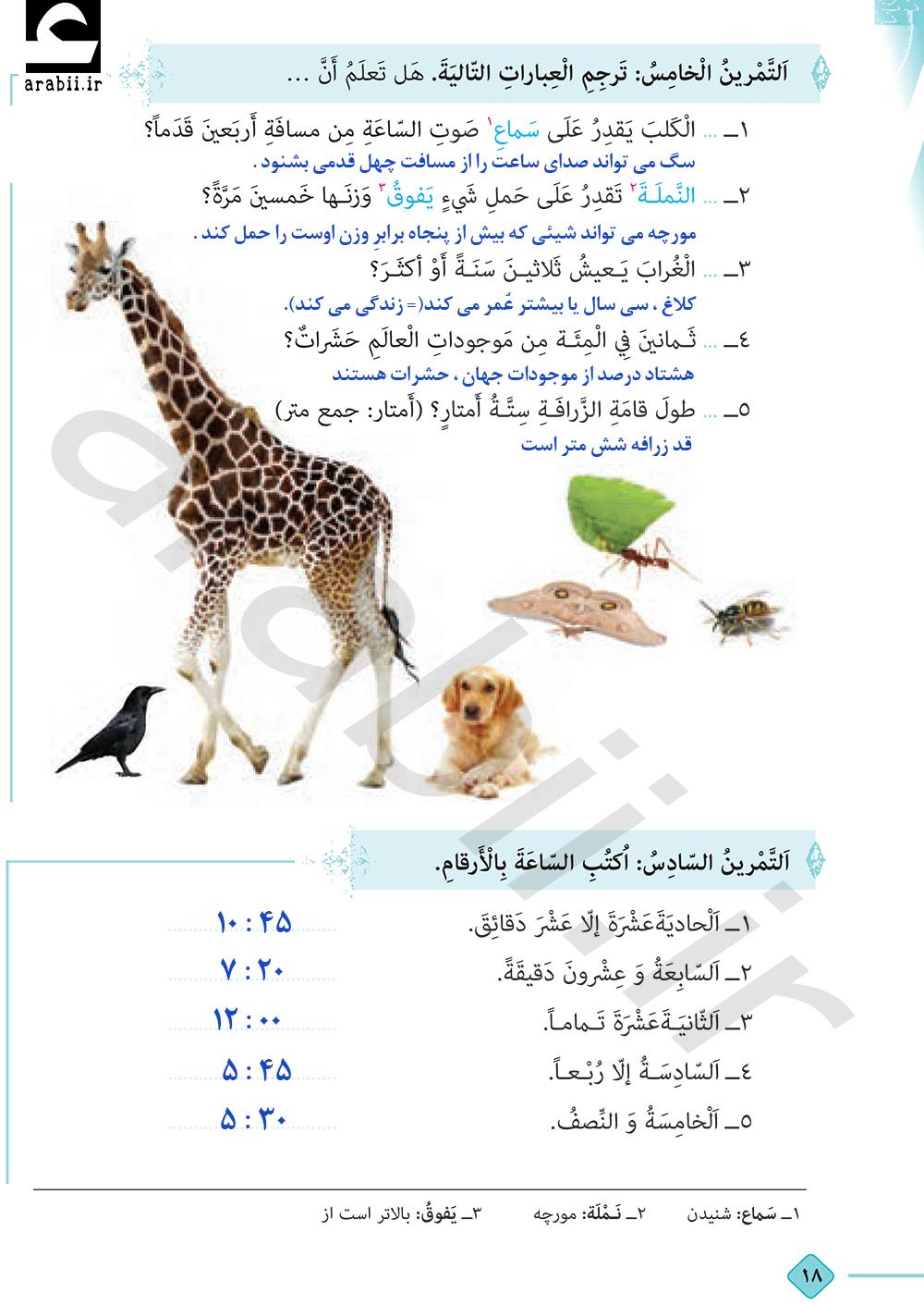 حل تمارین عربی درس الثانی دهم
