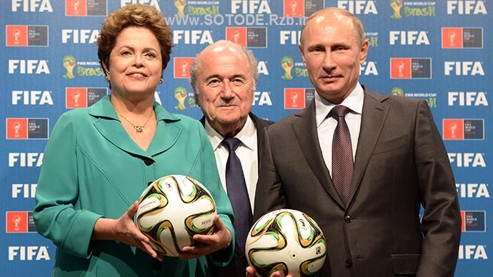 پوتین در کنار شخصیت های فوتبالی