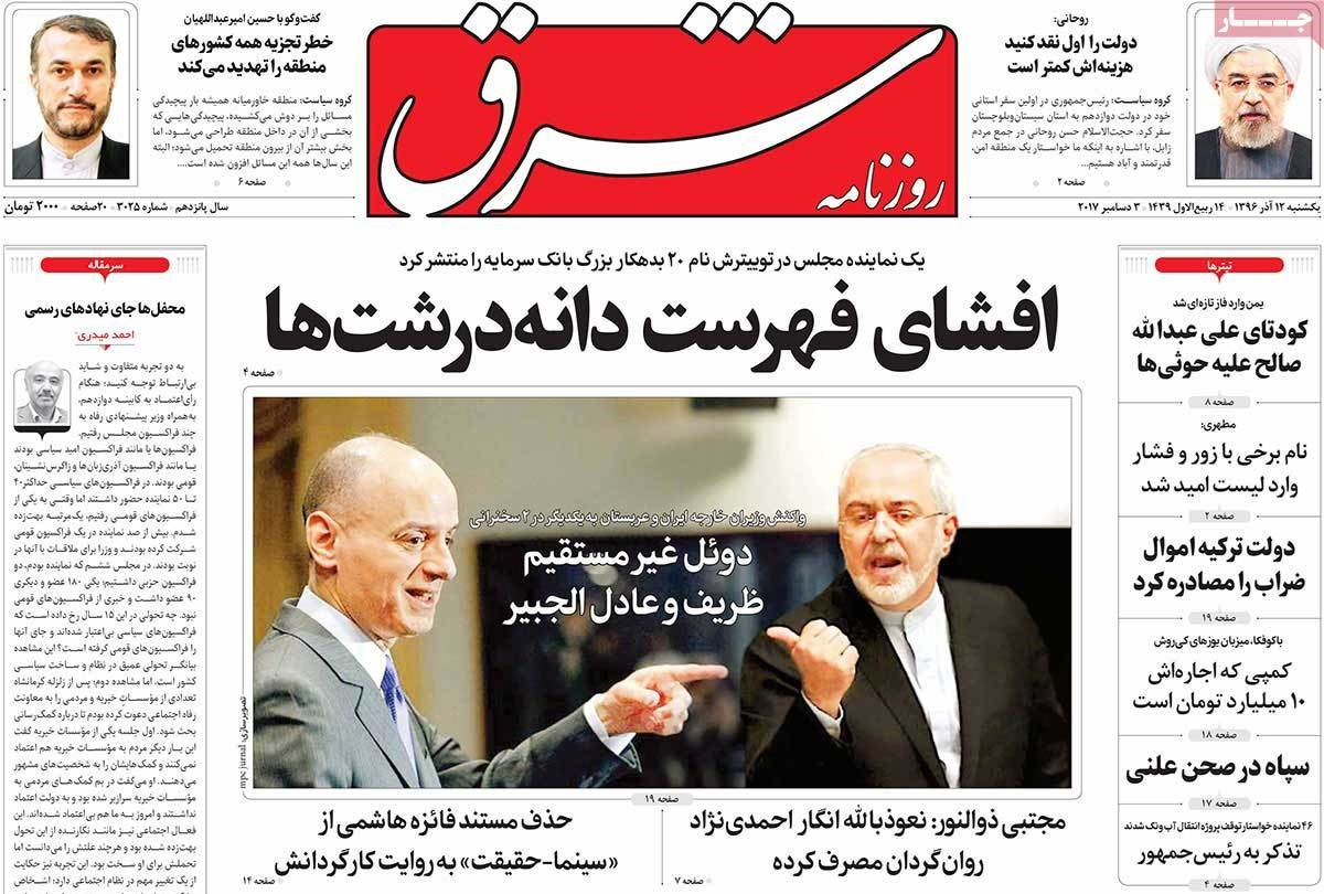 روزنامه های 12ام آذر