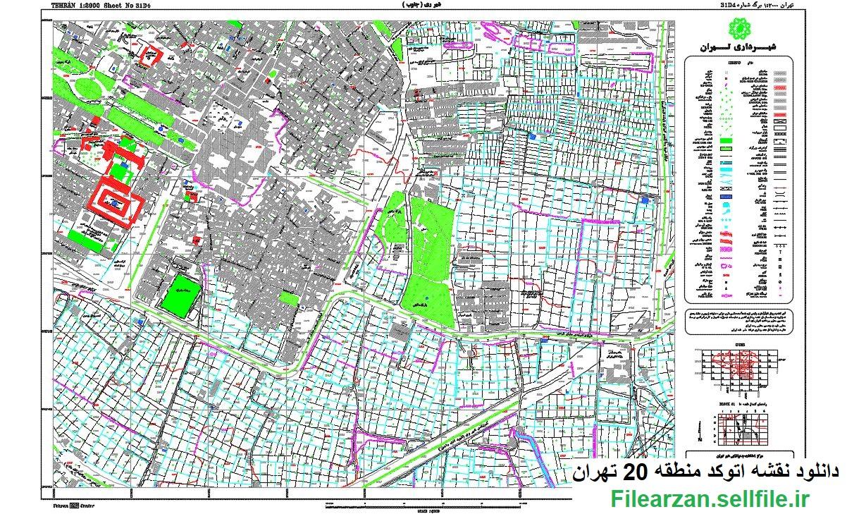 نقشه کد خام منطقه 20 تهران بصورت رایگان