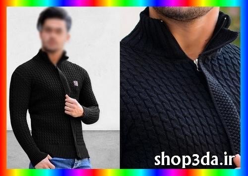 خرید اینترنتی پستی آنلاین ارزان قیمت لباس سویشرت مشکی بافت مردانه پسرانه فشن ساده بافتنی 2018 لباس های زمستانه اسپرت برای افراد چاق و لاغر مدلهای لباس جدید بافت