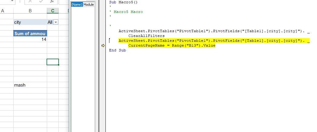 error in vba for changing power pivot fillter based on cell value