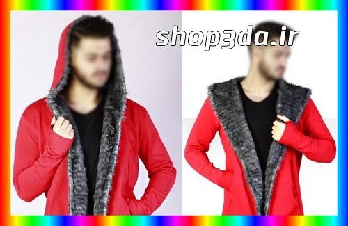 جدیدترین مدل هودی بلند مردانه رنگ قرمز یقه خز دار