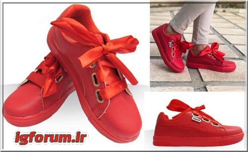 کفش اسپرت ساده دخترانه رنگ قرمز مدل پایپونی