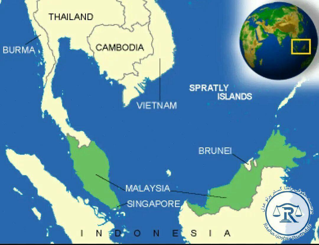 موقعیت جغرافیایی مالزی در نقشه جهان