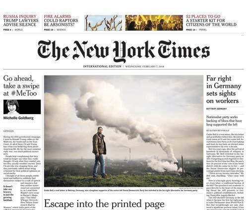 International New York Times 07 February 2018