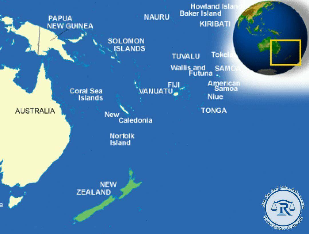 موقعیت نیوزلند در نقشه جهان