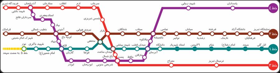 نقشه مترو تبریز