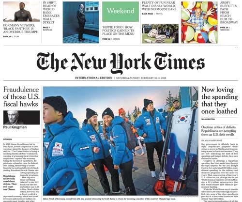 International New York Times 10-11 February 2018