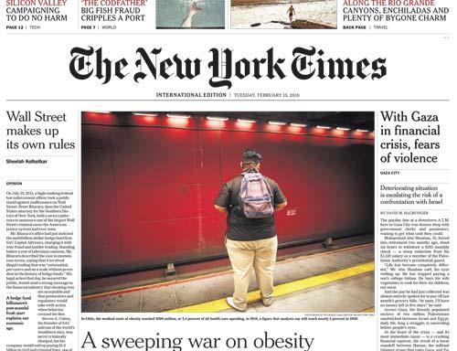 International New York Times 13 February 2018