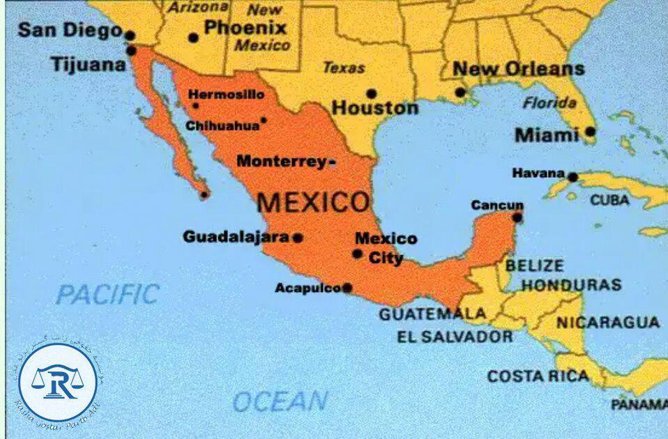موقعیت مکزیک در نقشه جهان