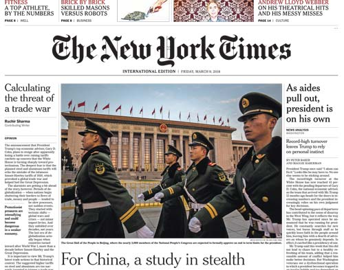 International New York Times 09 March 2018