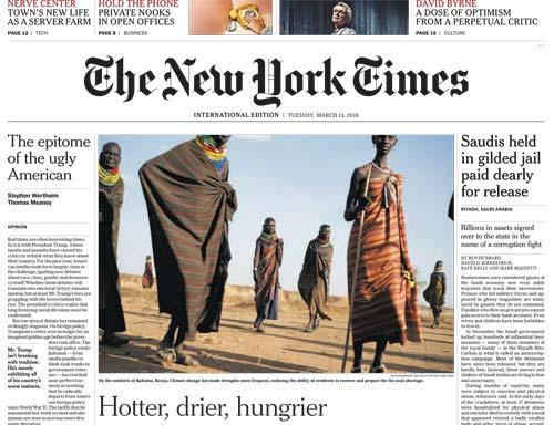 International New York Times 13 March 2018