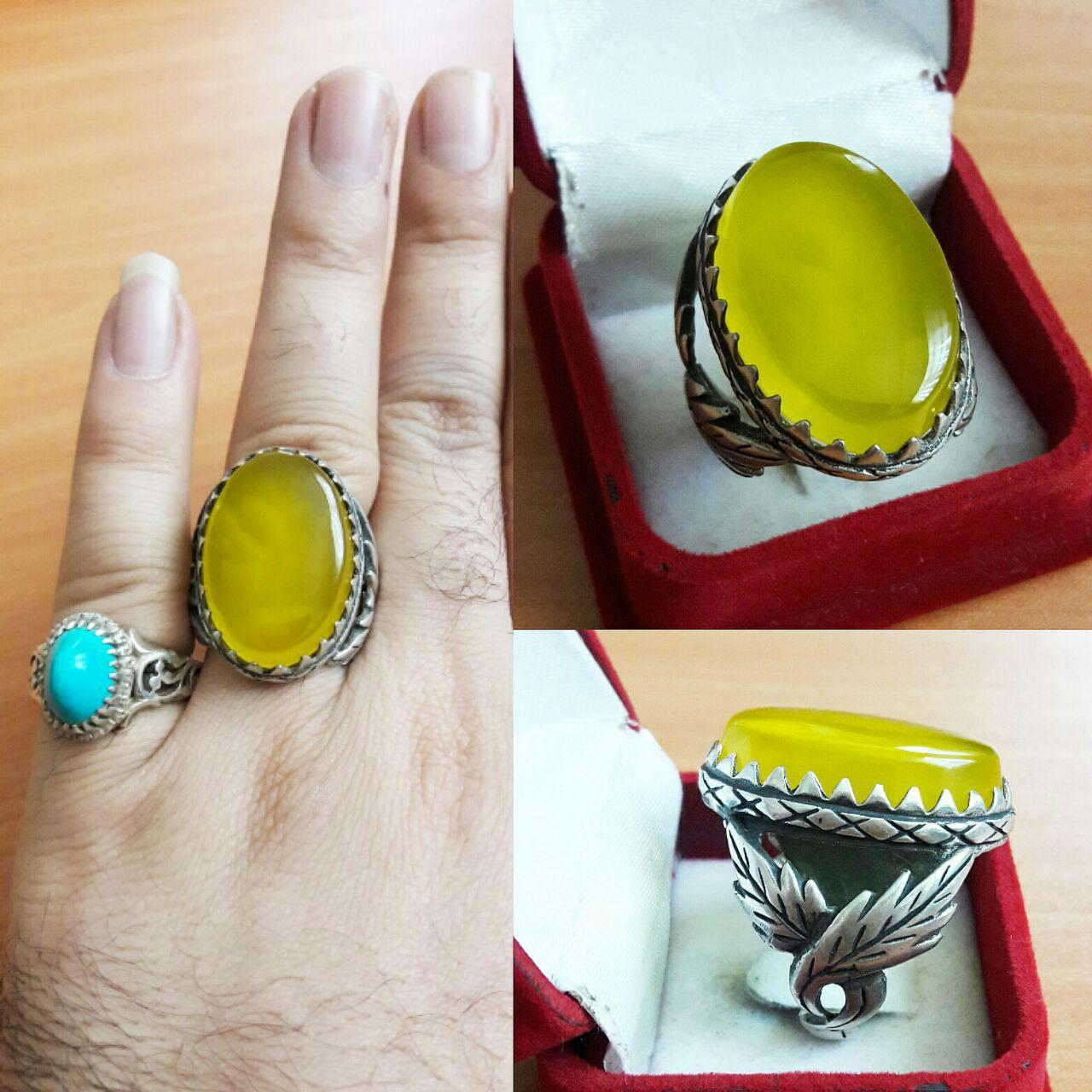انگشتر عقیق زرد خوشرنگ لانه زنبوری برای دعای شرف الشمس