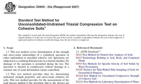 دانلود رایگان استاندارد آزمایش سه محوری فشاری تحکیمنیافتهی زهکشینشده - ASTM D2850−03a Triaxial Compression Test - UU