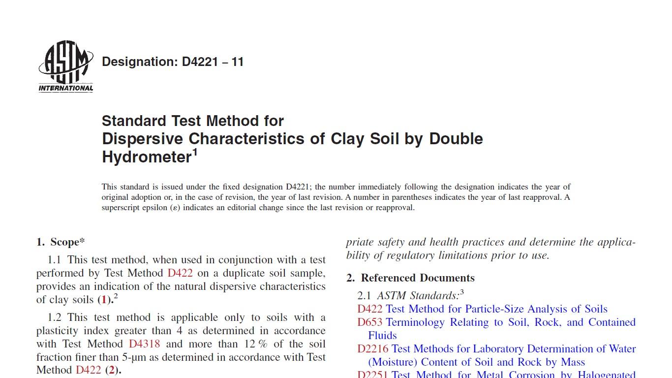 دانلود رایگان استاندارد آزمایش هیدرومتری مضاعف - ASTM D 4221 – 11