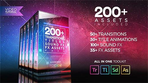 دانلود رایگان پک : VideoHive - 200 Pack: Transitions, Titles, Sound FX - Project for Premiere Pro