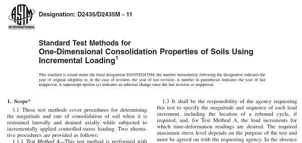 دانلود رایگان استاندارد آزمایش تحکیم یک بعدی کنترل تنش - ASTM D2435/D2435M − 11