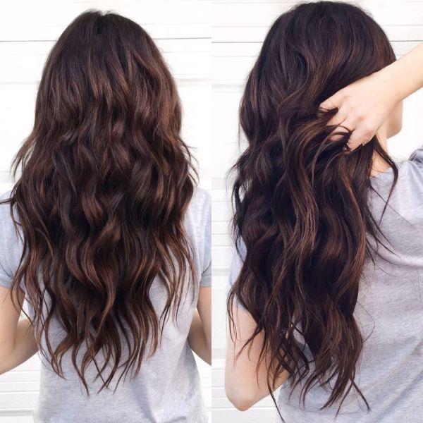 موی قهوه ای موج دار موی قهوه ای بلند زیبا فر دار فرفری