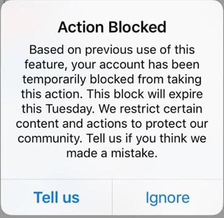 رفع بلاک اینستاگرام با پیام Action Blocked