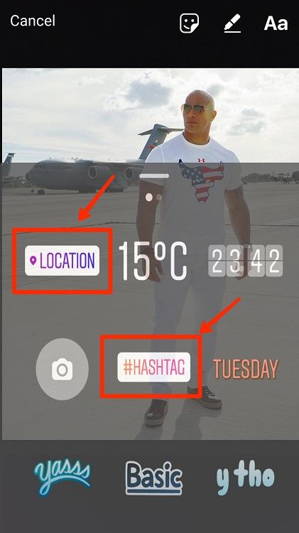 آموزش اضافه کردن موقعیت مکانی و هشتگ به استوری اینستاگرام