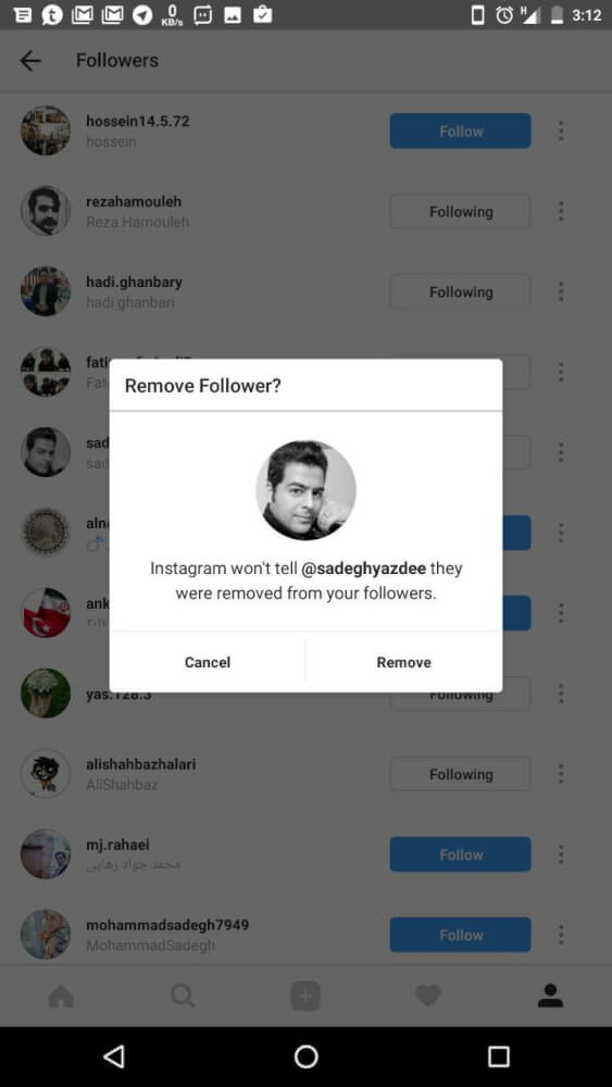 آموزش حذف فالوورهای اینستاگرام نسخه ی جدید