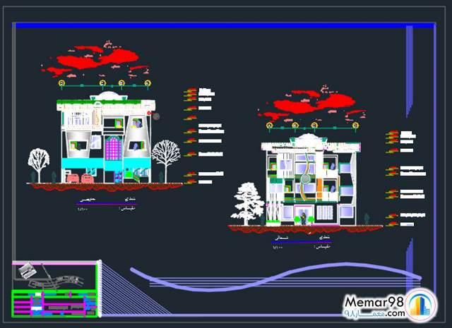 نقشه ساختمان مسکونی تجاری