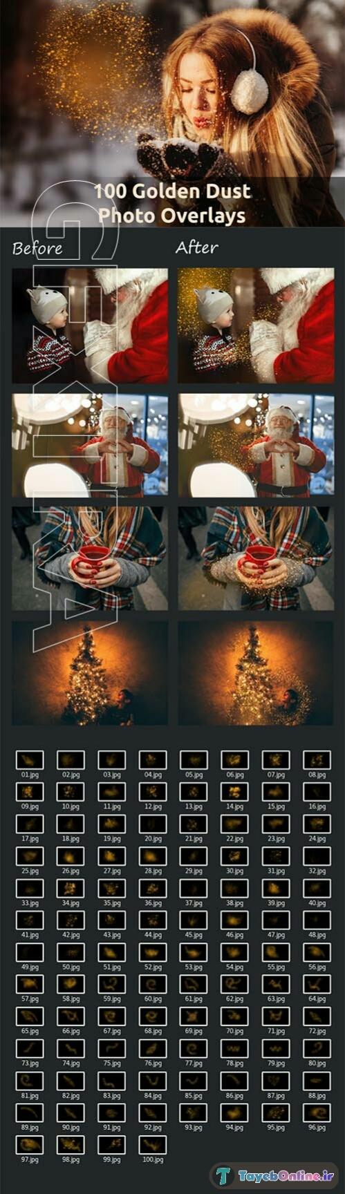 دانلود مجموعه آماده 100 Golden Dust Photo Overlays