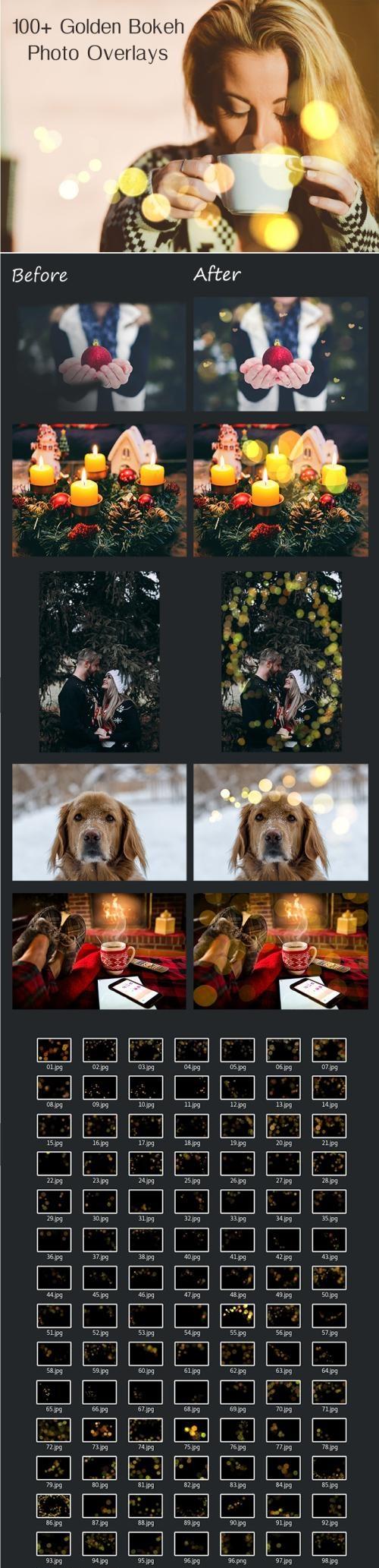 دانلود پک آماده : 100 Golden Bokeh Photo Overlays