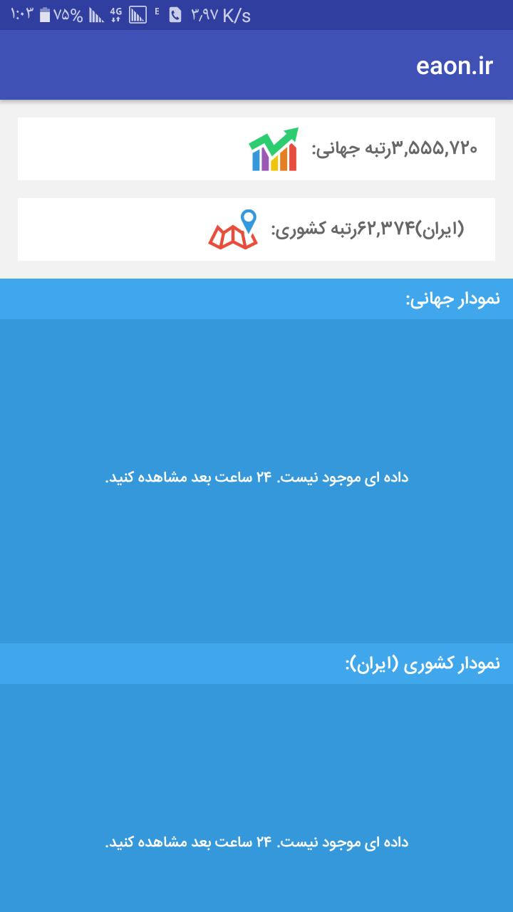 مشاهده رتبه الکسای سایت در گوشی