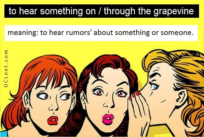 English Idiom: to hear something on/through the grapevine