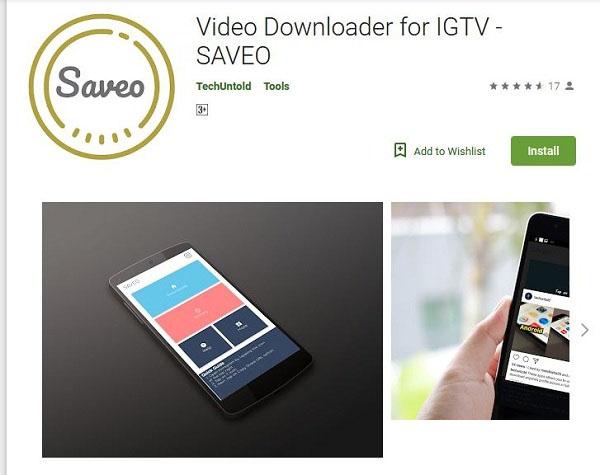 دانلود ویدئو صفحه IGTV از اینستاگرام با برنامه Saveo اندروید