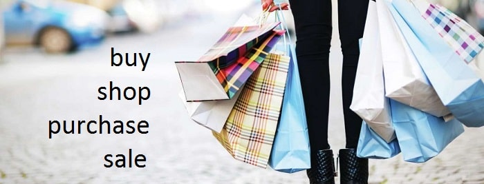 The difference between buy, shop, purchase, sale