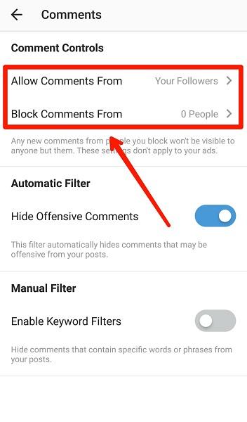 آموزش بلاک کردن کامنت گذاری توسط یک شخص یا فالوور های اینستاگرام