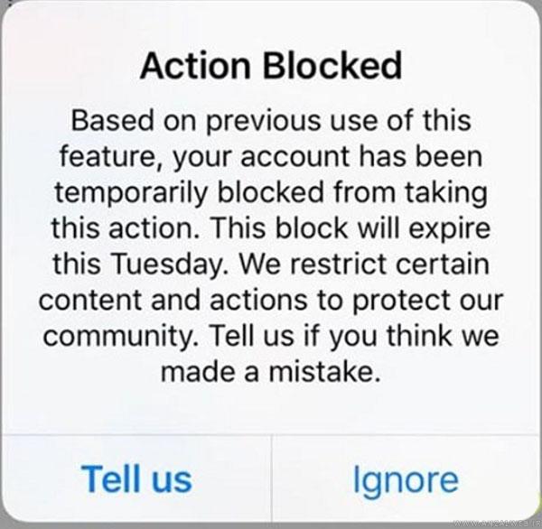 حل بلاک شدن در اینستاگرام با پیام Action Blocked
